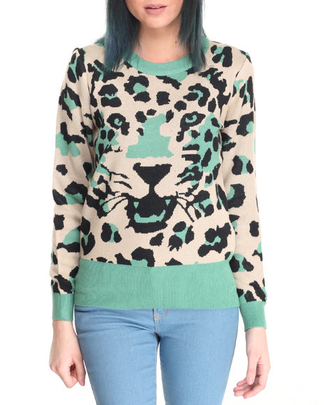Fashion Lab - Women Green Tiger Sweater