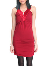 Women - Sleeveless Side Ruched Dress
