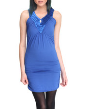 Dresses - Sleeveless Side Ruched Dress