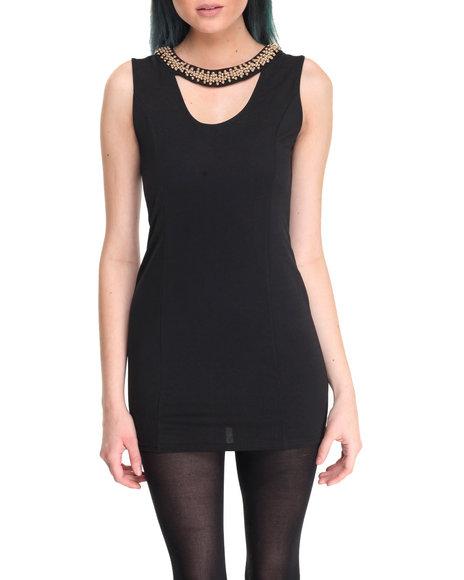 Fashion Lab - Women Black Cutout Sleeveless Dress W/Beads - $15.99