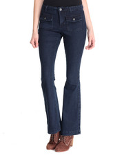 Jeans - High Waist Patch Pocket Skinny Flare Jean