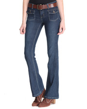 Women - Rebel By Right Belted Patch Pocket Flare Jean