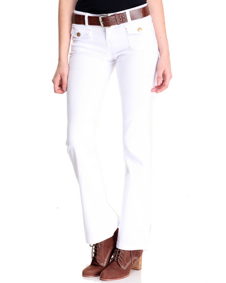Basic Essentials - Women White Rebel By Right Belted Patch Pocket Flare Jean