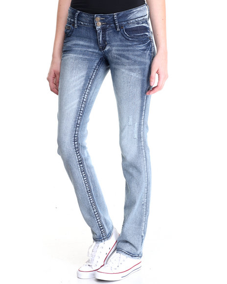 Basic Essentials - Women Light Wash Rebel By Right Heavy Stitch Skinny Jean