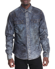 Long-Sleeve - ROAD KILL RINSE BLACK DENIM L/S BUTTON-DOWN