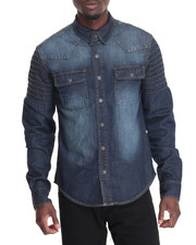 Long-Sleeve - Jason Bleached Denim L/S Button - Down
