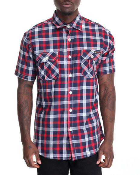 Enyce - Men Navy Plaid S/S Button-Down