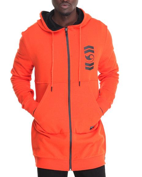 Pradagy - Men Orange Extended Combat Side - Zip Pullover Hoodie