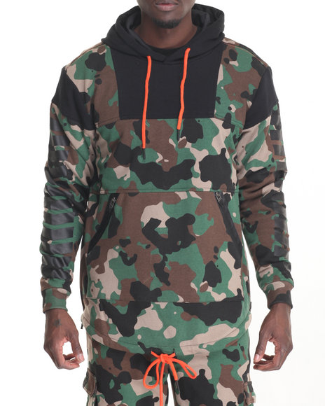 Pradagy - Men Camo Tech French Terry Thermal - Lined Pullover Hoodie