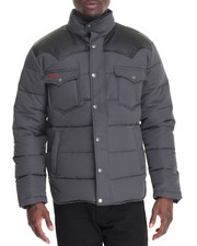 Men - FAUX LEATHER - TRIMMED GOOSE DOWN QUILTED JACKET