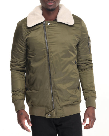 Members Only - Men Olive Long Length Asymetrical Bomber W/ Detachable Faux Fur Collar