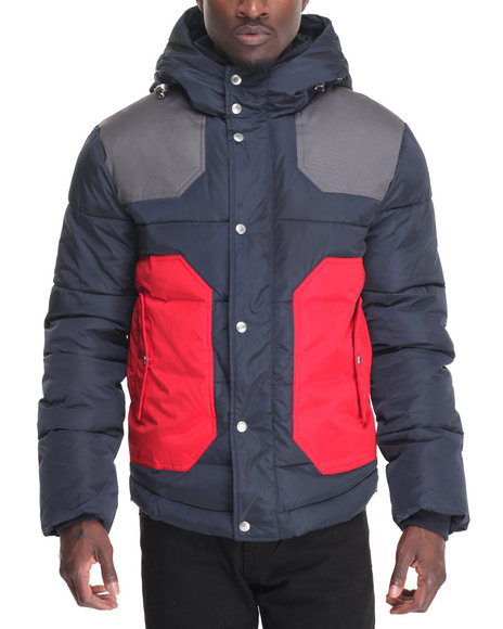 Kilogram Men Color Block Quilted Jacket Navy Medium
