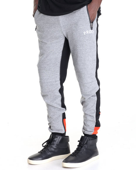 Pradagy - Men Grey Renegade Stripe - Back French Terry Joggers