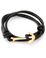 Accessories - 18K Gold Anchor Leather Wrap Bracelet