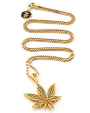 Accessories - 18K CZ WEED LEAF