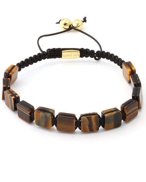 King Ice Men Tiger-Eye Gemstone Bracelet Brown