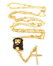 Accessories - 14K Gold Black CZ Jesus Piece Rosary Necklace