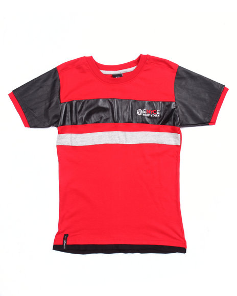 Enyce - Boys Red Faux Leather Trim Logo Tee (8-20) - $9.99
