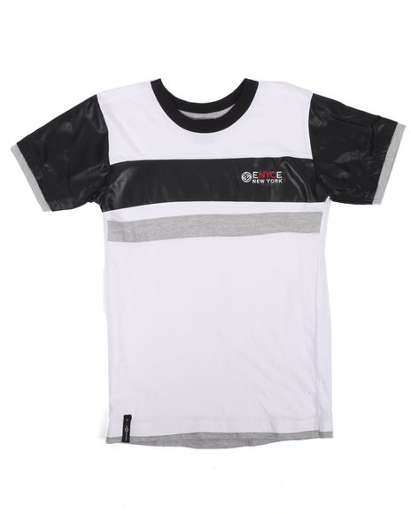 Enyce - Boys White Faux Leather Trim Logo Tee (8-20) - $9.99
