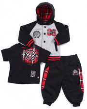 Sets - 3 PC SET - PLAID HOODY, TEE, & JOGGERS SET (INFANT)