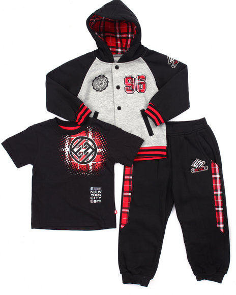 Enyce - Boys Black 3 Pc Set - Plaid Hoody, Tee, & Joggers Set (4-7)