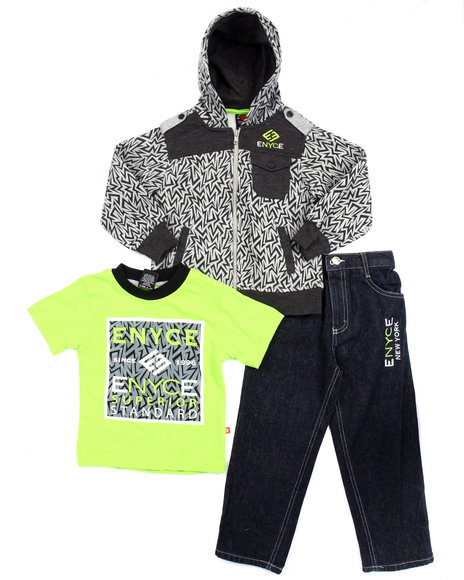 Enyce - Boys Grey 3 Pc Set - Geo Print Hoody, Tee, & Jeans (4-7)