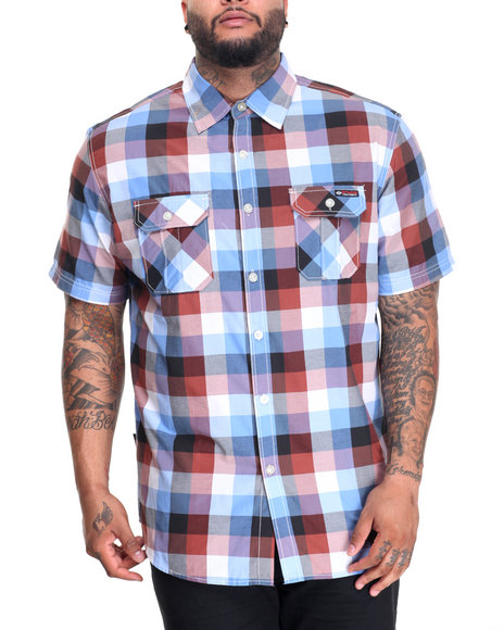 Enyce - Men Blue Plaid S/S Button-Down (B&T) - $22.99