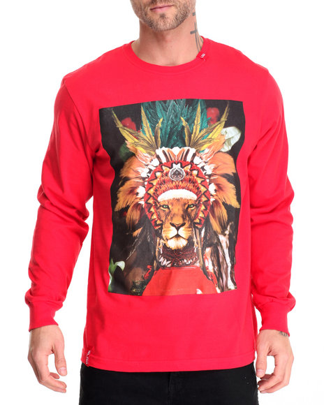 Lrg Men Rc Lion Chief L/S T-Shirt Red Small