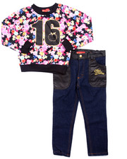 Girls - 2 PC FLORAL SWEATSHIRT & JEANS (4-6X)