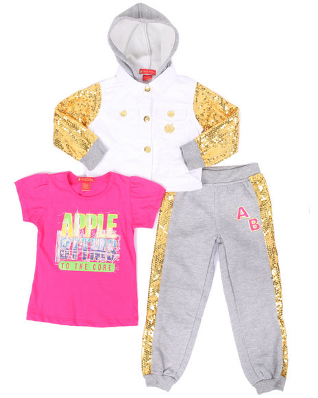 Apple Bottoms - Girls Grey 3 Pc Sequin Trim Jogger Set (4-6X)