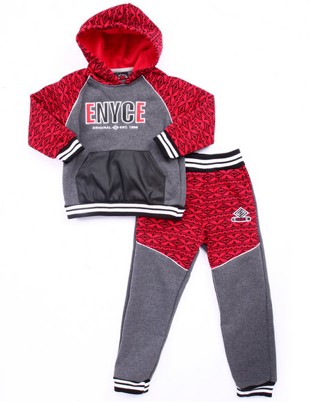 Enyce - Boys Red Aztec Hoody & Jogger Set (8-20)
