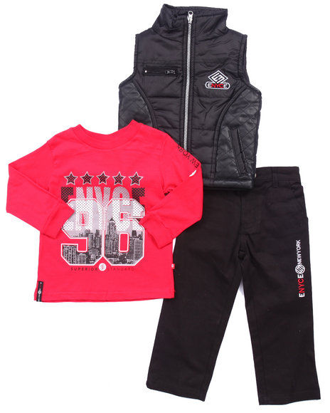 Enyce - Boys Black,Red 3 Pc Set - Faux Leather Trim Vest, Tee, & Jeans (V