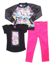 Girls - 3 PC GRAFFITI VARSITY JACKET SET (4-6X)