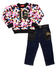 Apple Bottoms - 2 PC FLORAL SWEATSHIRT & JEANS (2T-4T)