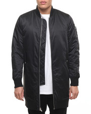 Men - Top Coat Bomber Jacket w/ Ribbed Collar