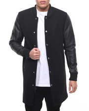 Men - Top Coat Varsity jacket w/ Faux Leather Sleeve
