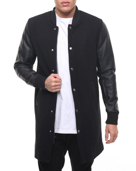 Members Only - Men Black Top Coat Varsity Jacket W/ Faux Leather Sleeve