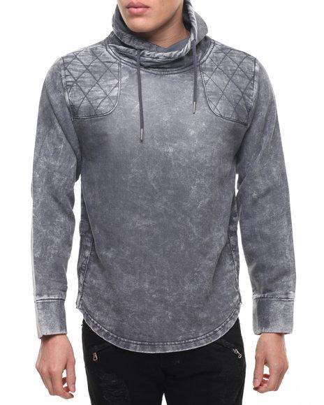 Buyers Picks - Men Grey Knit Denim Side - Zip Mock - Neck Sweatshirt