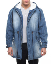Men - Sherpa - Lined Fishtail Denim Army Jacket