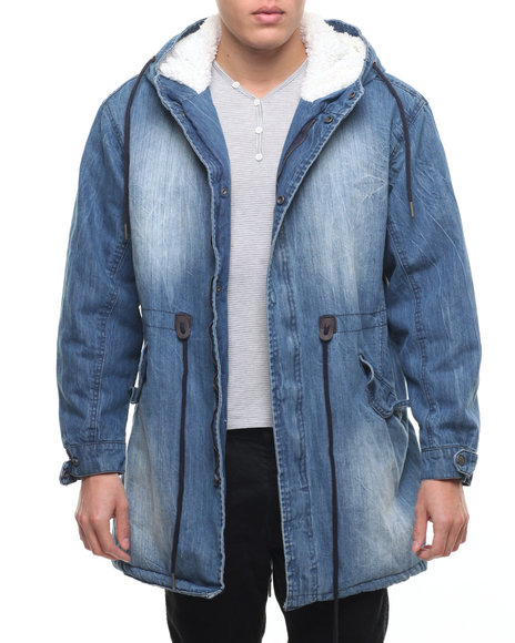 Buyers Picks - Men Medium Wash Sherpa - Lined Fishtail Denim Army Jacket