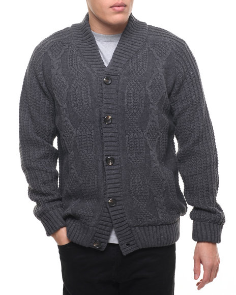 Buyers Picks Men American Stitch Knit Cable Cardigan Sweater Charcoal XLarge