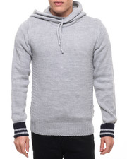 Men - American Stitch Texture Panel Pullover Hoodie