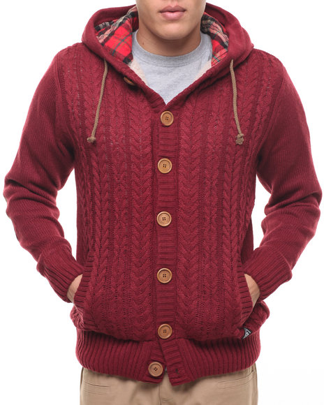 Buyers Picks Men American Stitch Cable Maroon Large