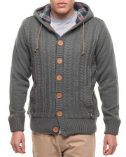 Men - American Stitch Cable - Knit Button Up Hooded Sweater