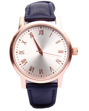 Men - Dial & Leather Band Watch