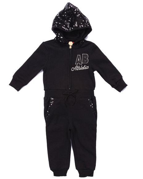 Apple Bottoms - Girls Black Fleece Jumpsuit W/ Sequin Hood (Infant)