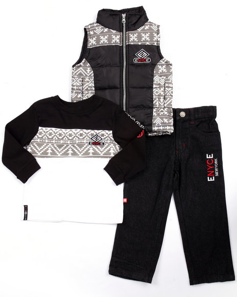 Enyce - Boys Black 3 Pc Set - Aztec Print Vest, Tee, & Jeans (2T-4T)