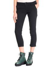 Bottoms - Twill Roll Cuff Crop Skinny Jean