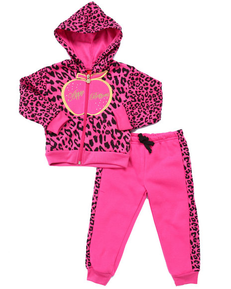 Apple Bottoms - Girls Pink 2 Pc Animal Print Jogger Set (2T-4T)