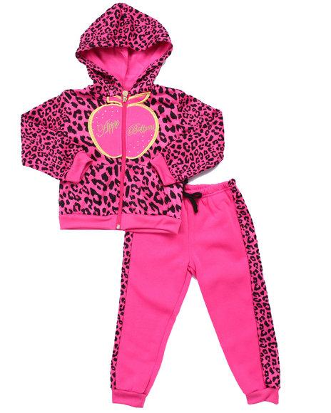 Apple Bottoms - Girls Pink 2 Pc Animal Print Jogger Set (4-6X)
